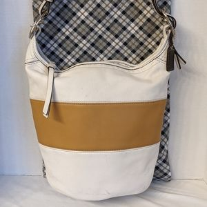 Coach Rugby Stripe Bucket Bag Glove Leather F13357